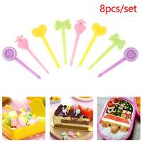 8pcs Fruit Fork Mini Kids Snack Cake Dessert Food  Pick Toothpick Bento Lunc Jf