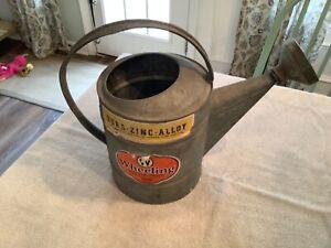 Vintage Wheeling Steel Galvanized Metal Watering Can #1510 w/Rose Bud Sprinkler