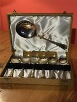 6 x Vintage EPNS Silver Plated Dessert Spoons and Large Serving Spoon in Box