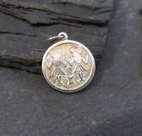 Schöner 835 Silber Anhänger Sternzeichen Tierkreiszeichen Zwillinge Rund Edel