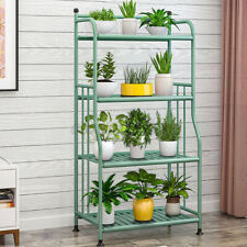 4 Tiers Metal Shelves Flower Pot Plant Stand Display Rack Shelf Indoor Garden