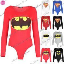 Mujer Batman Body Superman Leotardo Liso Elástico camiseta Top TALLAS 36 - 40