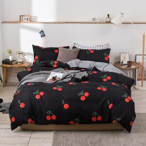 Cute Black Cherry Cotton Bedding Set Quilt Doona Cover Single Queen King Size