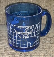 Clear Blue Glass Capital of the World Coffee Mug Toledo Ohio USA Made Souvenir