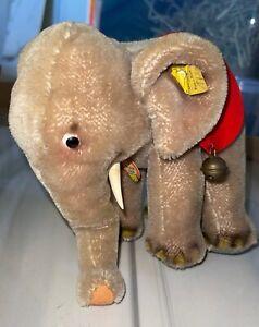 "Steiff Vintage Elephant Rare New Tags Mint 10"" 1960s"