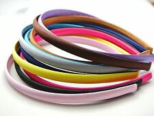 50 Mixed Color Plastic Headband Covered Satin Hair Band 9mm for DIY Craft