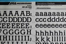 Mecanorma Dry Transfer Lettering Sheet A3, Typography #43, Barcelona Medium 15mm