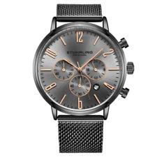 Stuhrling 3932 6 Monaco Date Chronograph Grey Mesh Bracelet Mens Watch