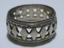 ART NOUVEAU DECO STERLING SILVER DIAMOND SHAPE ETERNITY FRIENDSHIP RING BAND
