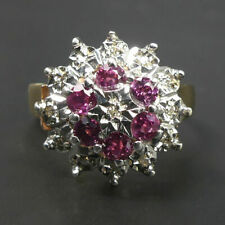 VINTAGE 9 CT RUBY & DIAMOND CLUSTER RING SIZE T1/2 LONDON 1980 - 5.3 GRAMS