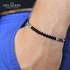 MEGBERRY Mens Beaded Bracelet - Black Onyx, Obsididian, Solid Sterling Silver