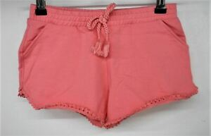 MAYORAL Girls Pink Cotton Blend Tie Waist Patterned Hem Shorts Size 7 Years NEW