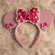 Tokyo Disney Resort Headband Minnie Big Ears Pink Polka Dot Bow Hanging Earrings