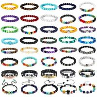 7 Chakra Healing Beaded Bracelets Lava Rock Bangle Natural Stone Agate Jewelry