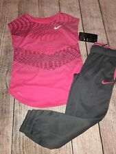 Nike Size 6 Pink Grey Joggers Athletic Outfit Dri Fit NEW