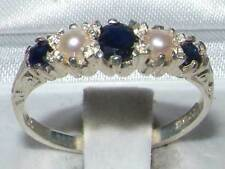 Sapphire & Cultured Pearl Ring with E Antique Style Solid 14K White Gold Natural