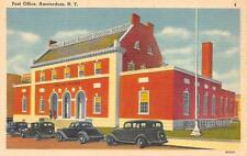 AMSTERDAM, NY New York  POST OFFICE  Parked Cars  c1940's Tichnor Linen Postcard