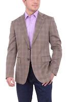 Mens 42R Mens Napoli Slim Fit Brown Plaid Half Canvassed Wool Silk Blend Blaz...