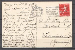 1928 Netherlands PC 10c Olympic Games running Esperanto Ship to Germany