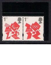 GB 2012 sg3337-8 Olympic Paralympic booklet stamps ordinary gum pair MNH