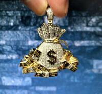 "10K Yellow Gold Diamond Money Bag 100 Dollar Stacks Pendant 1.85"" Charm 0.97 CT."