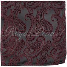Men Paisley Handkerchief Only Pocket Square Hanky Wine Burgundy Wedding Party