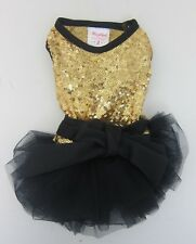 Wooflink Dogs Let's Party Sequin Tutu Dress Size 2 Gold/Black  NWT