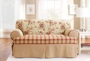 Sure Fit Lexington red floral patchwork print /T Sofa Cotton Duck 1pc Slipcover