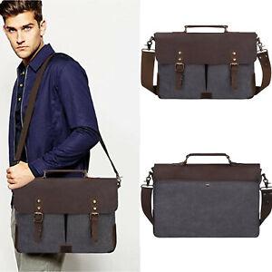 Retro Men's Leather&Canvas 15.6''Laptop Briefcase Shoulder Bag Schoolbag Handbag