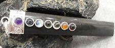 Black Tourmaline Seven Chakras Natural Stone Pendants 3.5 Inch AAAAA+++++