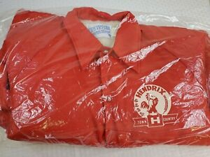 Vtg Men's Large Red Sherpa Lined HENDRIX Chicken Feed Seed Farm Advert Coat NWT