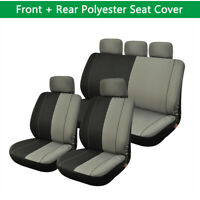 Polyester Cloth Car Seat Covers For Auto (Black & Grey) Full Surrounded 5-seat