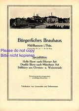 Bürgerliches Brauhaus Mühlhausen XL Reklame 1921 Brauerei Thüringen Bier Werbung
