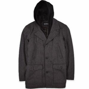 Guess Herren Mantel Jacke Coat Jacket Gr.L Dunkel Wolle Grau 106611