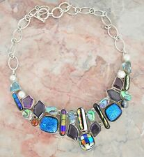 """DICHROIC GLASS ABALONE SHELL AMETHYST HUGE NECKLACE .925 STERLING SILVER 20"""""""