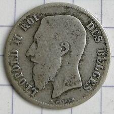 BELGIQUE 50 centimes Wiener LEOPOLD II ARGENT 1899 FR Silver coin AG 2