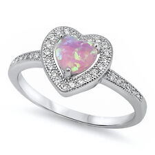 LOVE! PROMISE! Amethyst, Pink & White Opal Heart .925 Sterling Silver Ring 4-12