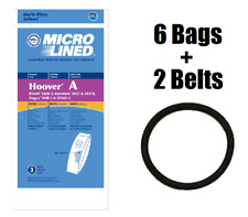 (6) Type A Vacuum Bags for Hoover 4010001A + (2) Round Belts
