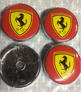 4x Ferrari Alloy Wheel Hub Centre Cap Set Center Caps Red/Yellow 60mm