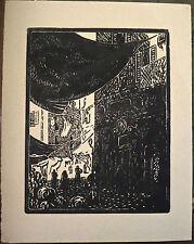 """Gravure sur bois originale de JACQUEMOT, """"une vue de rue"""""""