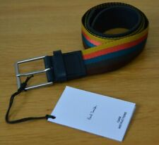 """PAUL SMITH black leather Bright Stripe Webbing striped canvas belt 34 inches 34"""""""