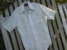 Vintage Mens silky poly dress shirt short sleeves Van Heusen flowers sz 15 EUC