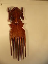 ANTIQUE-AFRICAN TRIBAL COMB-ETHNOGRAPHIC ART-BULL'S HORN=WEALTH-AGRICULTURE