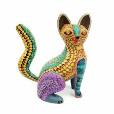 CAT Oaxacan Alebrije Wood Carving Mexican Folk Art Animal Sculpture Painting