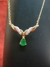 10K YELLOW GOLD NECKLACE WITH EMERALD DROP AND DIAMOND ACCENT