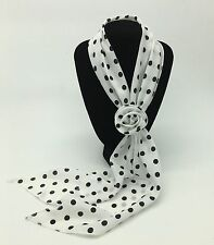 Small White & Black Spotted Small Scarf with Removable Flower Clip