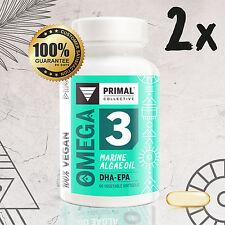 2x Premium Vegan Omega 3 DHA/EPA Marine Algae Oil x60 Capsules: SAVE 10%