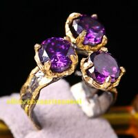 Natural Purple Amethyst Stone Turkish  925 Sterling Silver Womans Ladies Ring