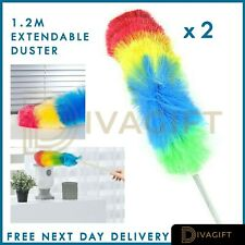 2 PACK 1.2M DUSTER TELESCOPIC ANTI STATIC EXTENDABLE HANDLE FEATHER LONG BRUSH