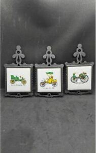 Vintage 1970's Cast Iron And Tile Kitchen Trivets Set Of 3 Classic Car Themed